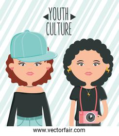 cute girls with sport cap and camera photographic youth style