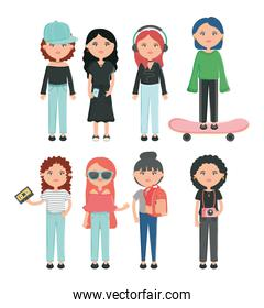 group of girls youth urban style characters