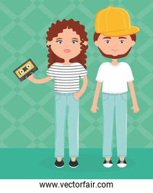 young couple with cassette urban style characters