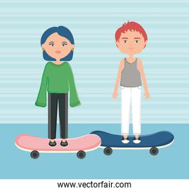 young couple with skateboards urban style characters