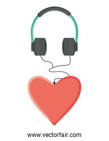 audio earphones with heart love