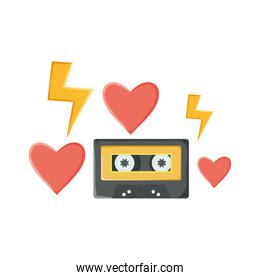 isolated  retro music cassette with hearts love