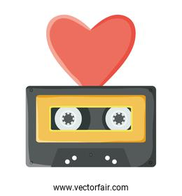 retro music cassette with heart love