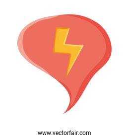 speech bubble message with power ray