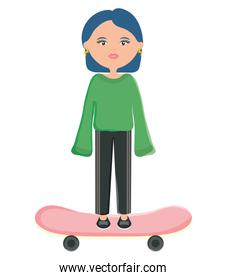 cute woman with skateboard character