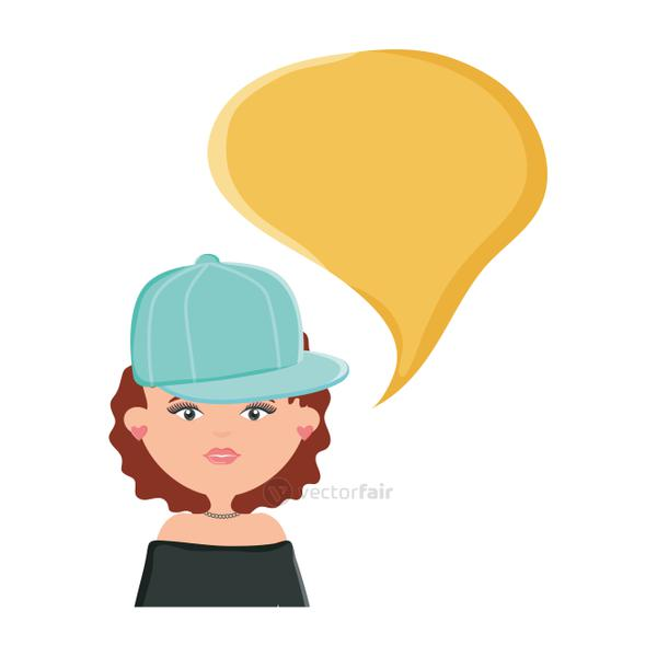 cute woman with sport cap and speech bubble