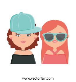 cute girls with sport cap and sunglasses characters