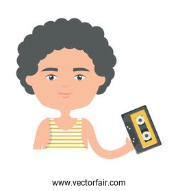 happy young boy with cassette urban style character