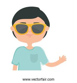 happy young boy with sunglasses urban style character