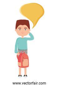 happy young boy with schoolbag and speech bubble