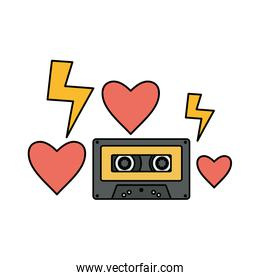 retro music cassette with hearts love