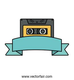 retro music cassette with tape frame