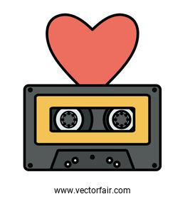 isolated retro music cassette with heart love