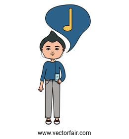 happy young boy listening music with earphones and speech bubble