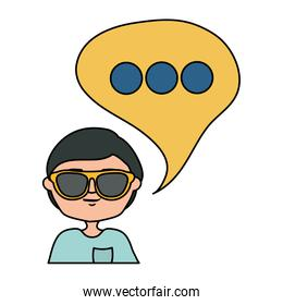 happy young boy with sunglasses and speech bubble