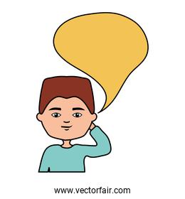 happy young boy with speech bubble character