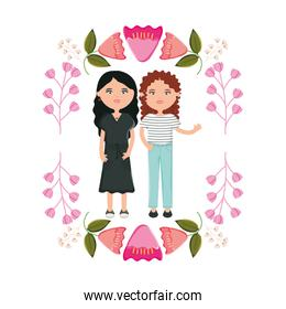 cute girls couple with flowers decoration
