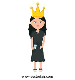cute woman with queen crown