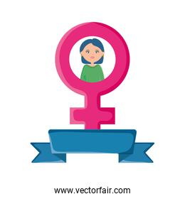 cute woman with pink gender symbol character