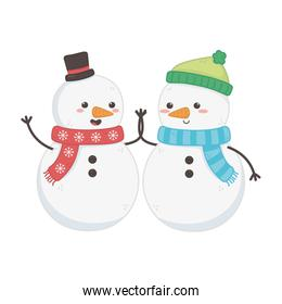 snowmen with hats holding hands decoration merry christmas