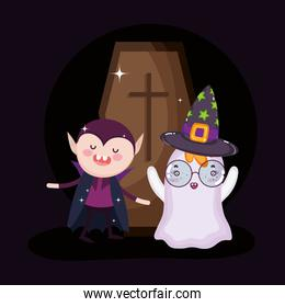 dracula ghost and coffin halloween