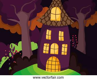 house in the forest trees halloween