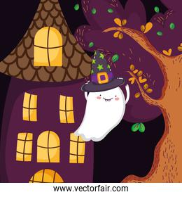 ghost with hat house tree halloween
