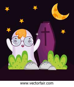 ghost and coffin night halloween