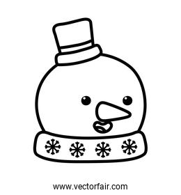 snowman with hat and carrot nose decoration merry christmas line style