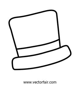 top hat red ribbon white background line style