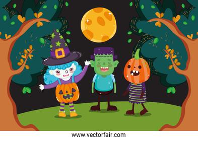 kids with costume halloween image