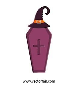 coffin and witch hattrick or treat, happy halloween