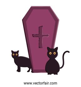 coffin with cross and catstrick or treat, happy halloween