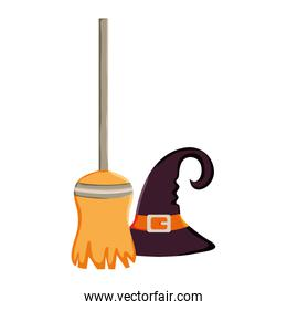 witch broom and hattrick or treat, happy halloween