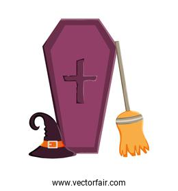 coffin hat and broomtrick or treat, happy halloween