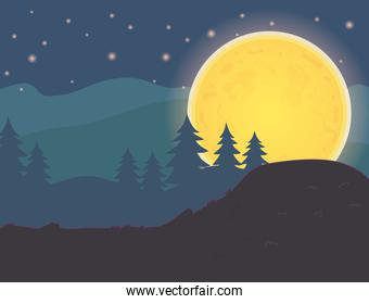 forest trees night moontrick or treat, happy halloween