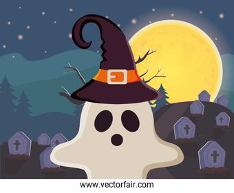 ghost with hat in the cemetery trick or treat, happy halloween