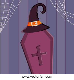 coffin with hat trick or treat, happy halloween
