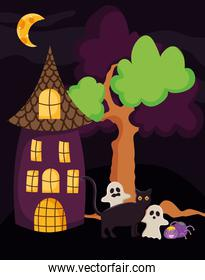 ghosts cat spider house night moon tree trick or treat, happy halloween