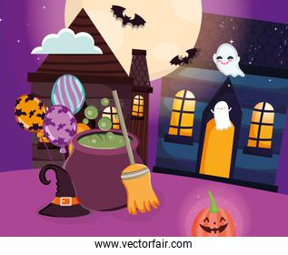 houses ghosts cauldron ghost trick or treat, happy halloween