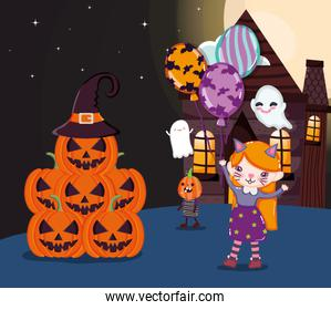 girl cat costume and stack pumpkins halloween image