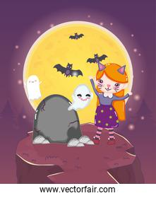 girl cat costume and ghosts mountain halloween image