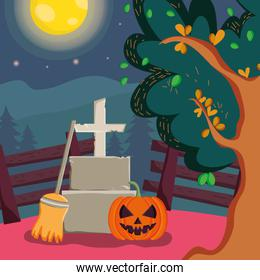 pumpkin tombstone cross broom night trick or treat, happy halloween
