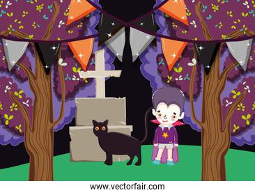 dracula boy costume with tombstone halloween image