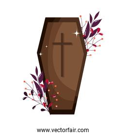 coffin with cross leaves foliage trick or treat, happy halloween
