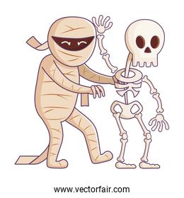 mummy and skeleton character trick or treat, happy halloween
