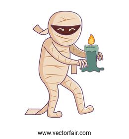 mummy character with burning candle trick or treat, happy halloween