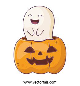 smiling ghost and pumpkin trick or treat, happy halloween