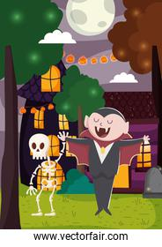 dracula and skeleton party trick or treat, happy halloween