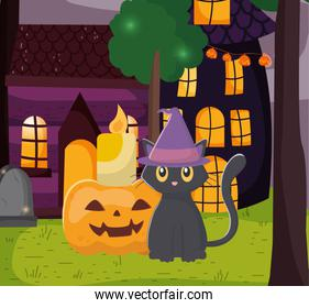 black cat with hat and candle pumpkin trick or treat, happy halloween